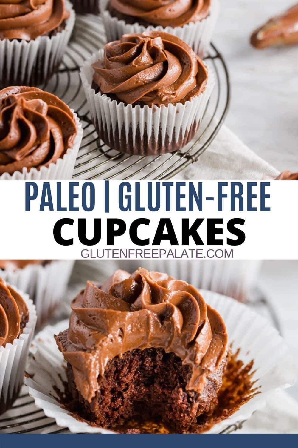 a pinterest pin collage of two photos with the words paleo gluten free cupcakes in the center