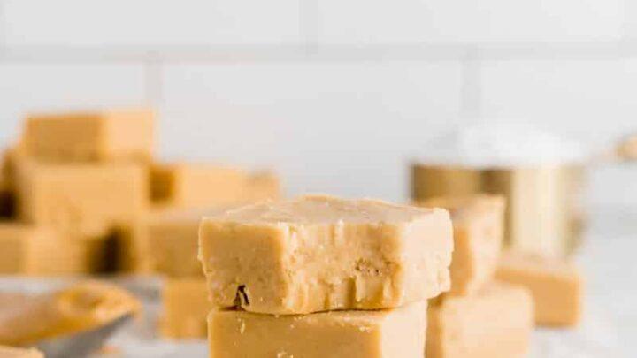 three piececs of peanut butter fudge stacked
