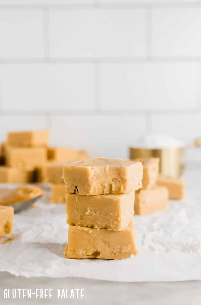 three pieces of peanut butter fudge stacked