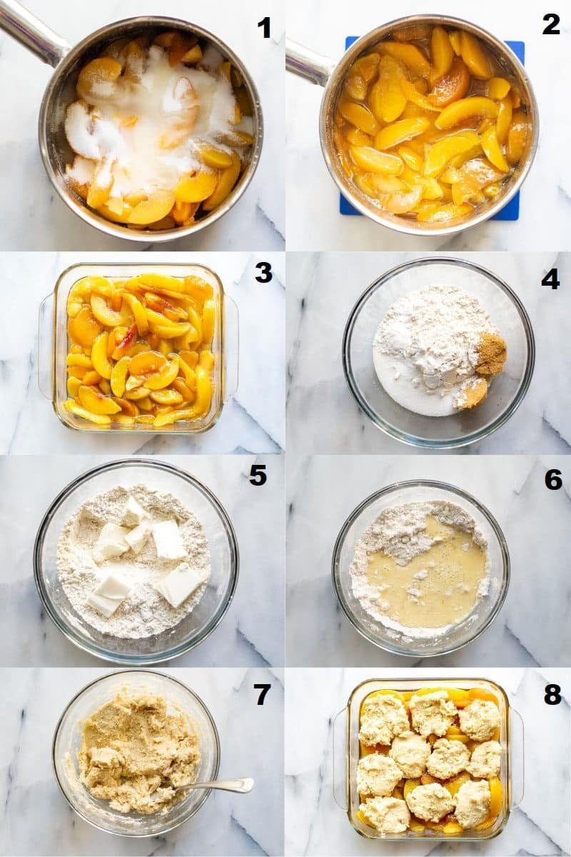collage of eight images showing the steps on how to make gluten free peach cobbler