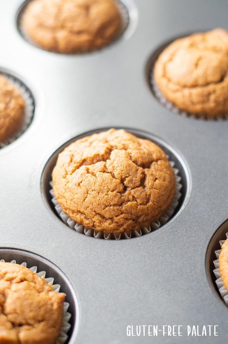 gluten free pumpkin muffin in a muffin baking pan