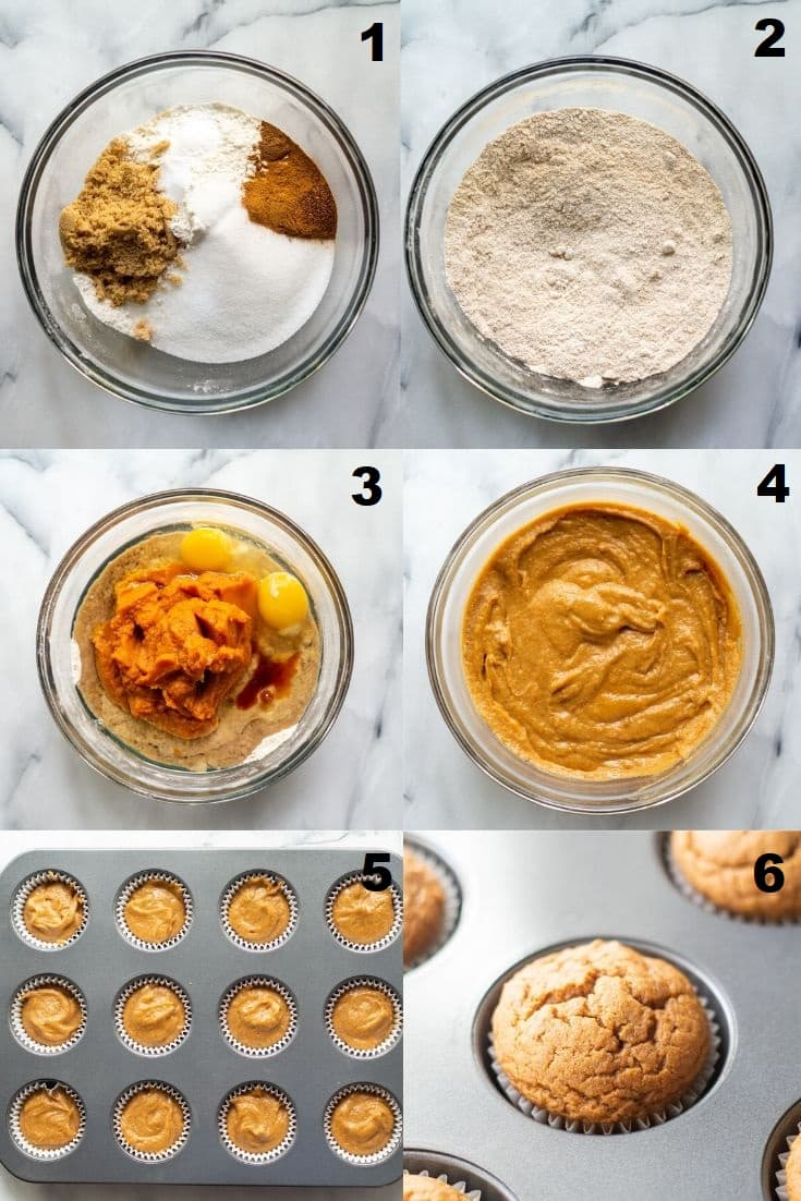 a collage of six photos showing how to make gluten free pumpkin muffins