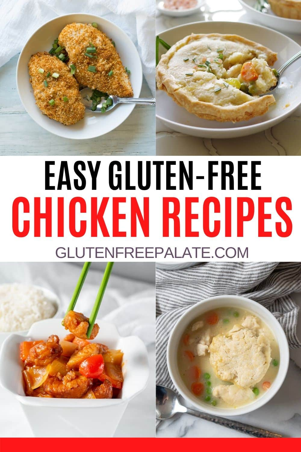 a pinterest pin collage of four photos of chicken recipes