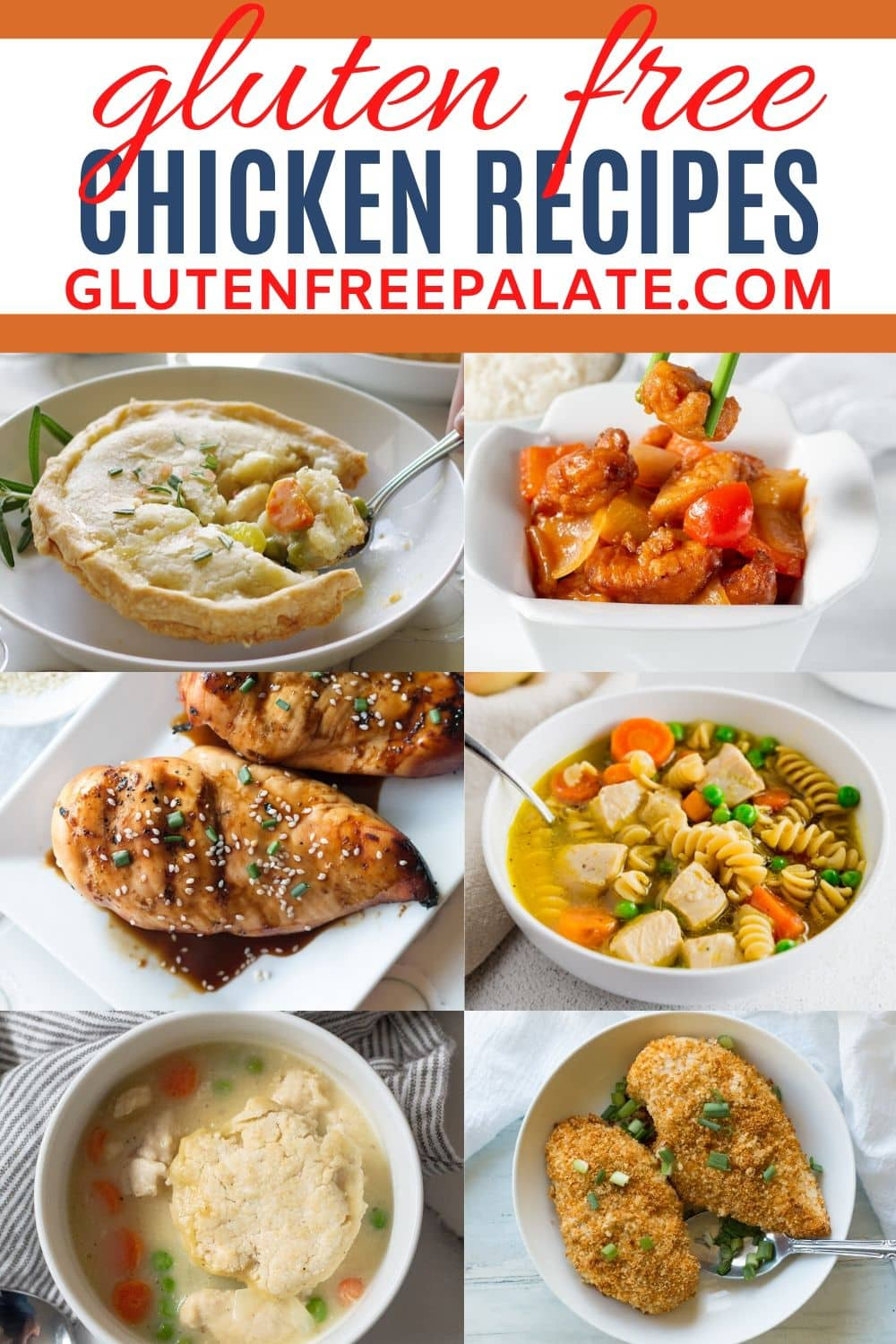 a pinterest pin collage of photos of chicken recipes