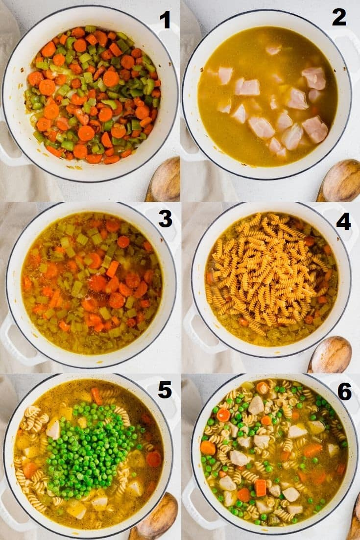 a collage of six photos showing the steps how to make gluten free chicken noodle soup