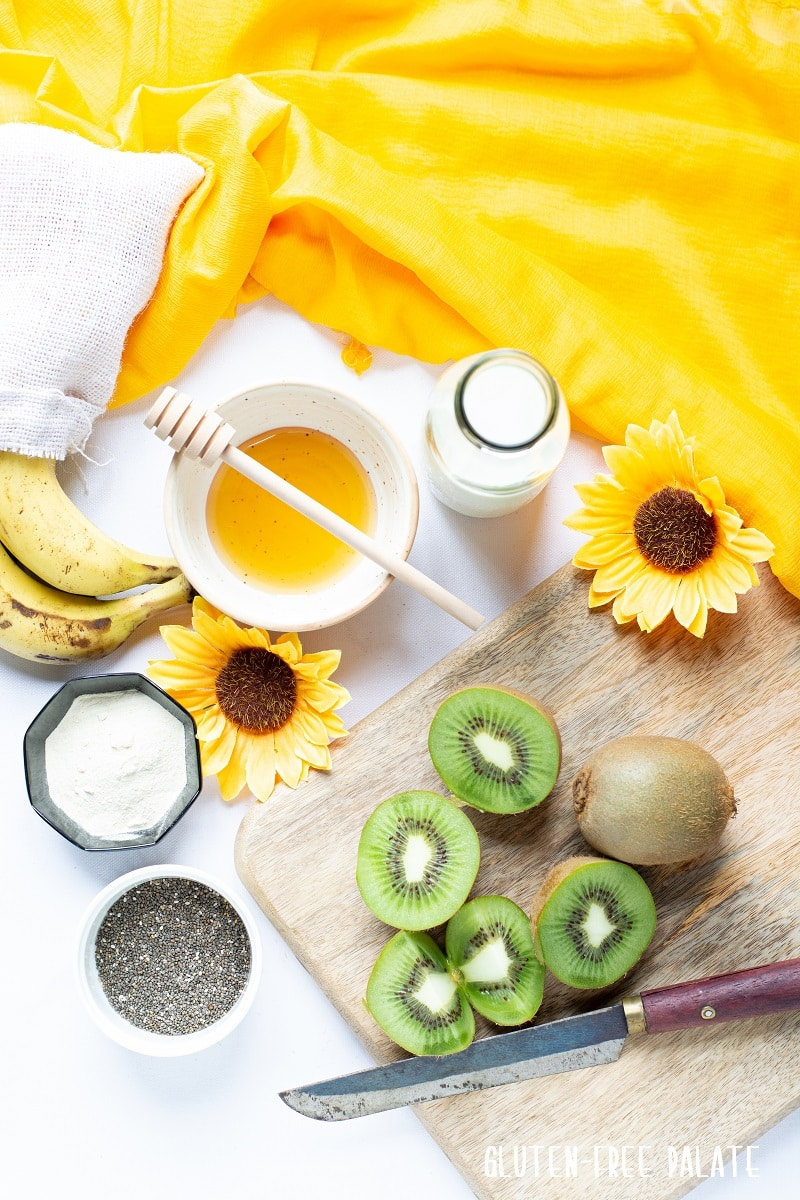 top down view of the ingredients in a kiwi smoothie