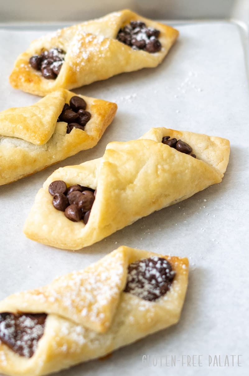 close up of gluten free puff pastry filled with nutella