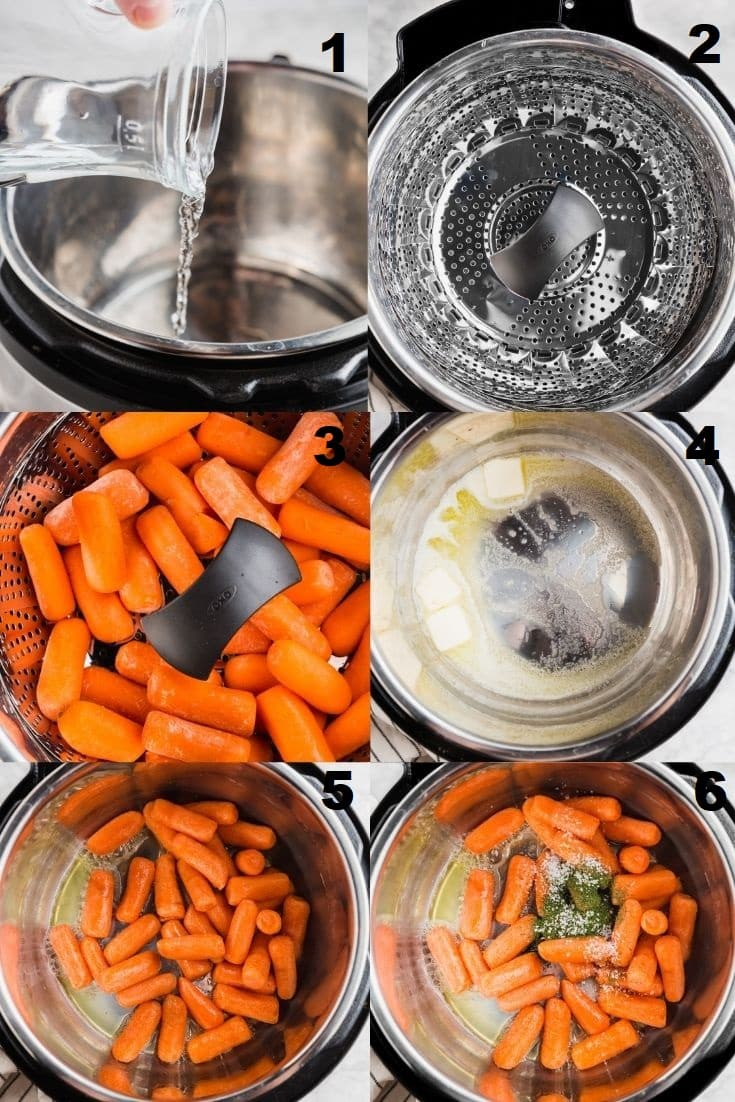 a collage of six photos showing the steps to make instant pot carrots