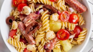 gluten free pasta salad in a white bowl
