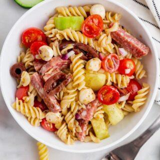 gluten free pasta salad in a white bowl