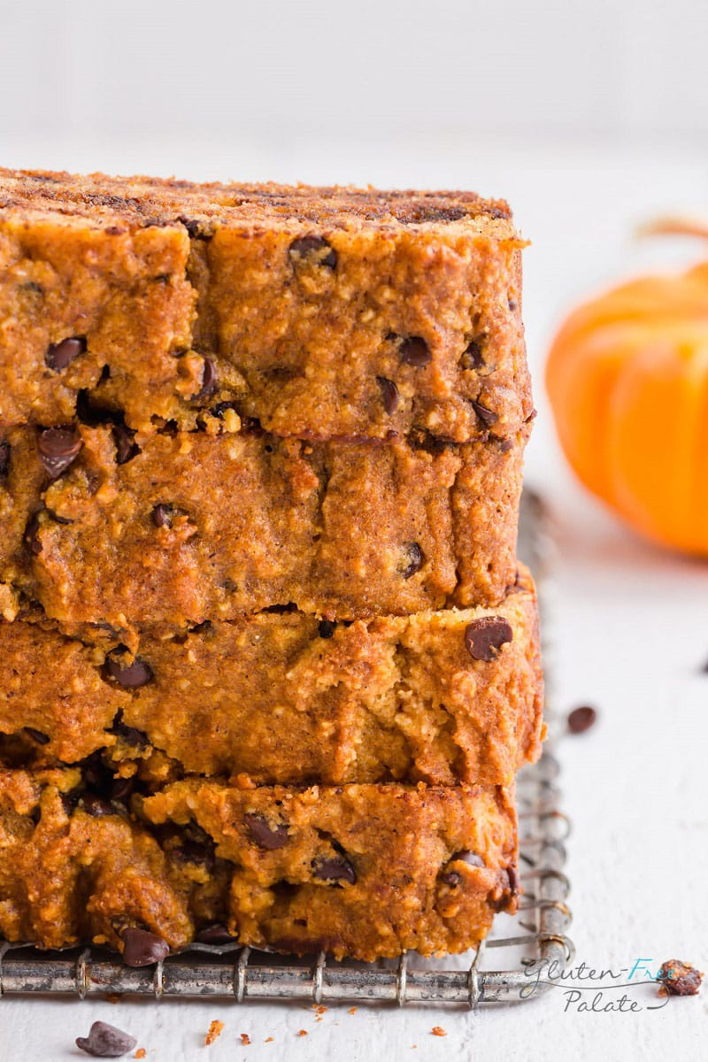 a close up view of the texture of paleo pumpkin bread