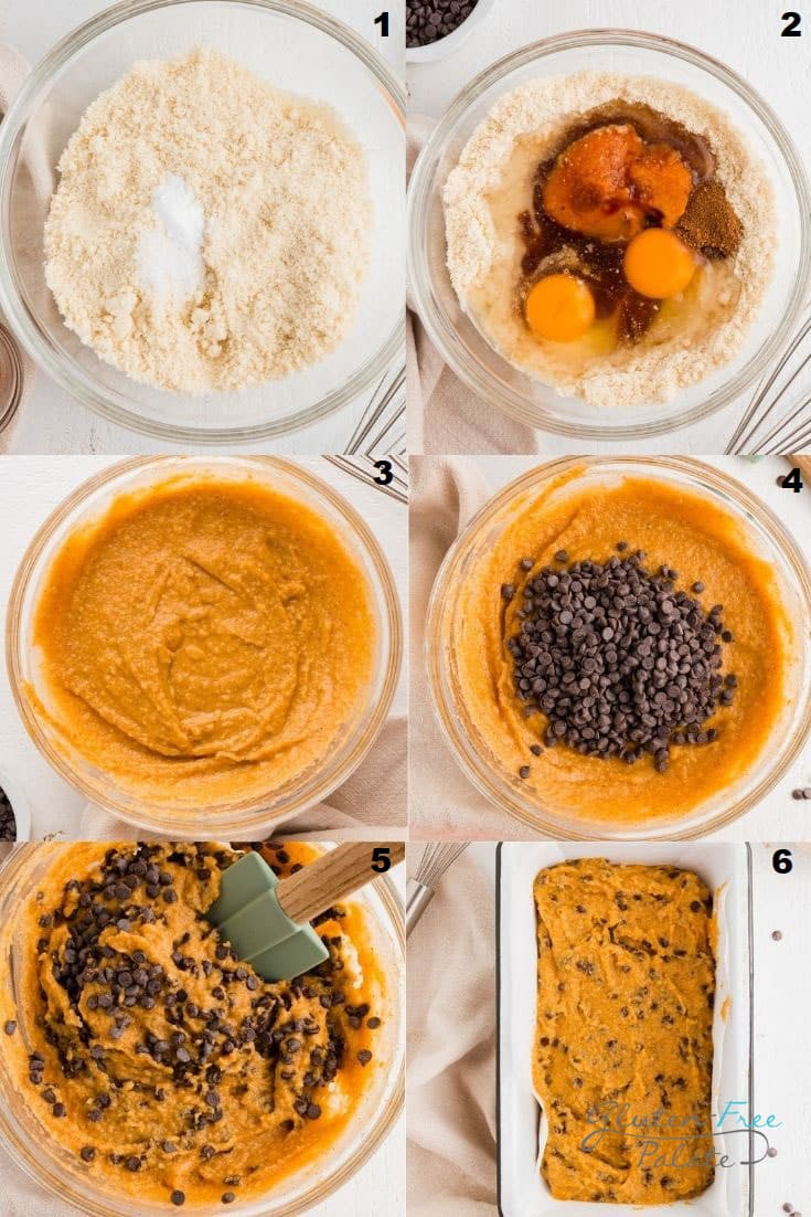 a collage of six photos showing how to make paleo pumpkin bread