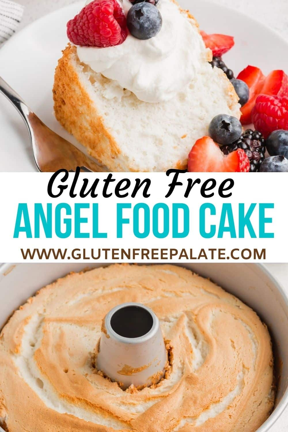 pinterest pin collage for gluten free angel food cake
