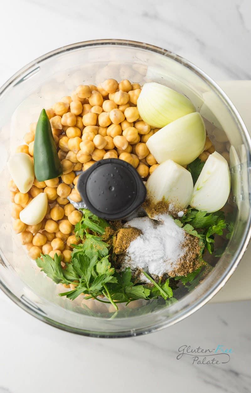 ingredients in gluten free falafel in a food processor