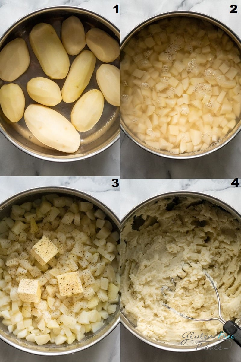 a collage of four photos showing how to make gluten free mashed potatoes