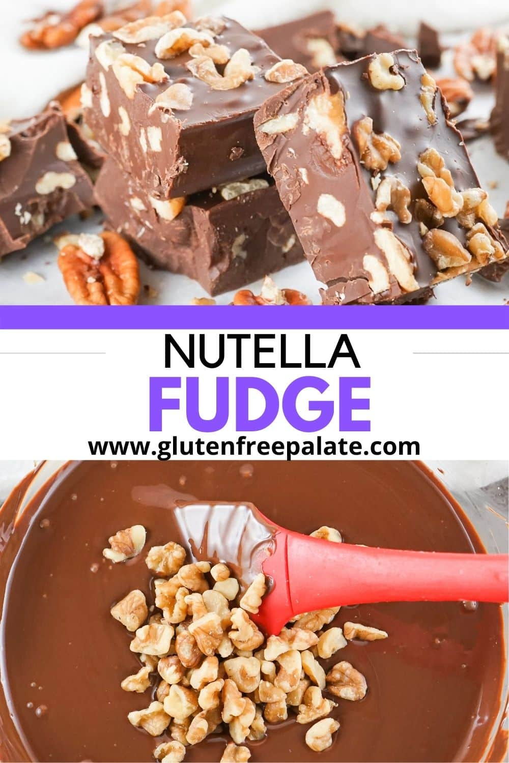 pinterest pin collage for nutella fudge