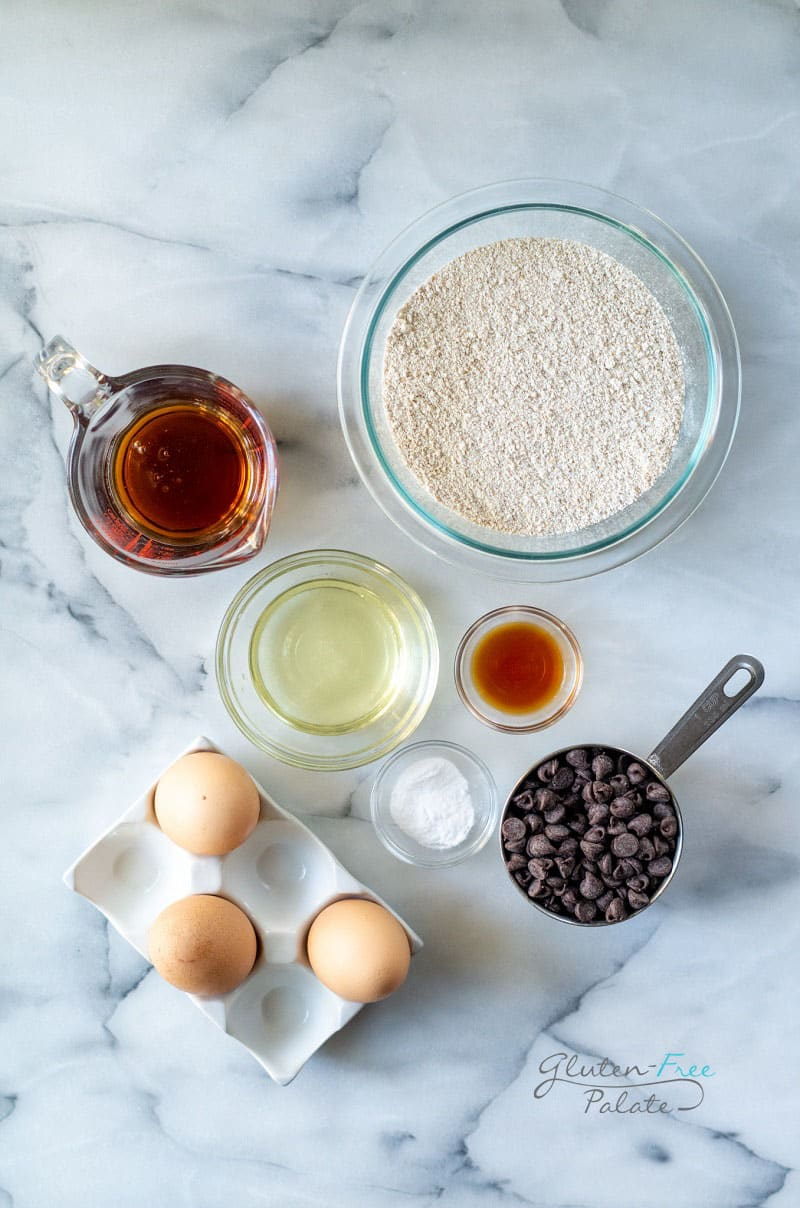 top down view of the ingredients in oat flour chocolate chip muffins