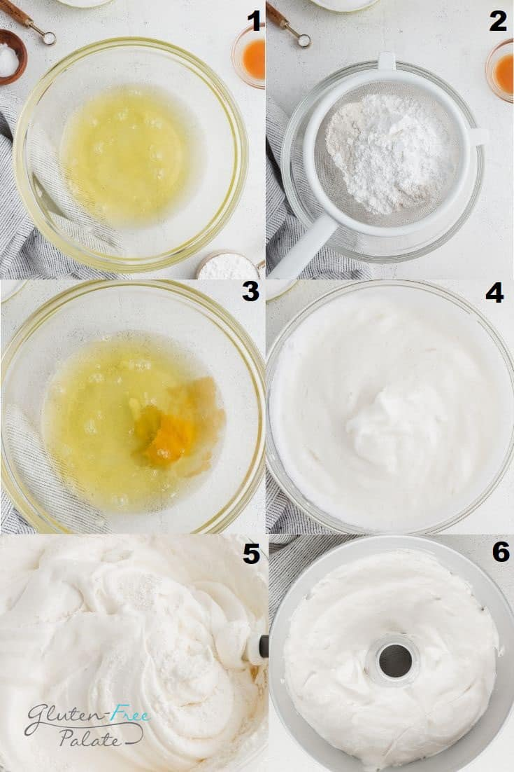 a collage of six photos showing the steps to make gluten free angel food cake