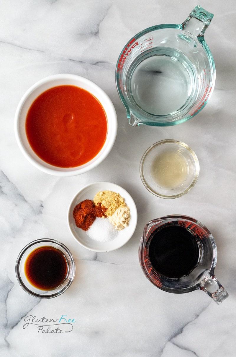 top down view of ingredients in gluten free bbq sauce
