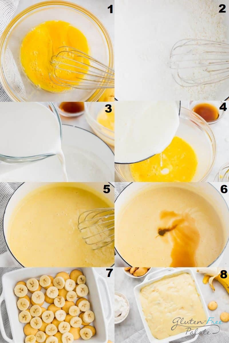 a collage of eight photos showing the steps how to make gluten free banana pudding