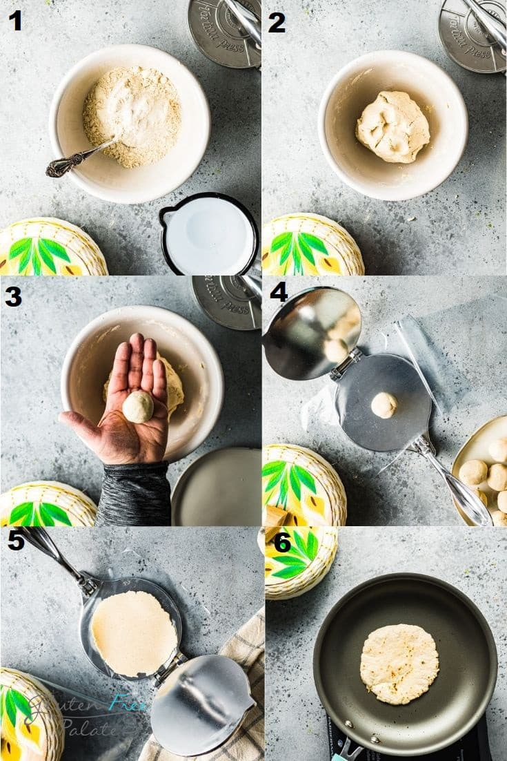 a collage of six photos showing how to make gluten free corn tortillas