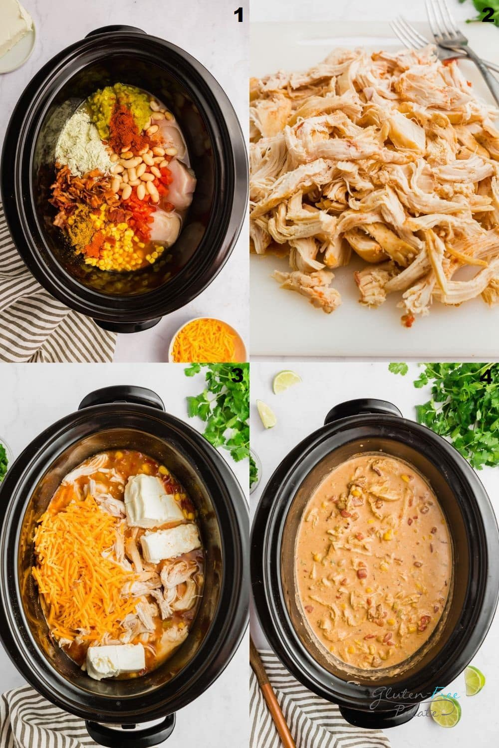 a collage of four photos showing the steps to make crack chicken chili