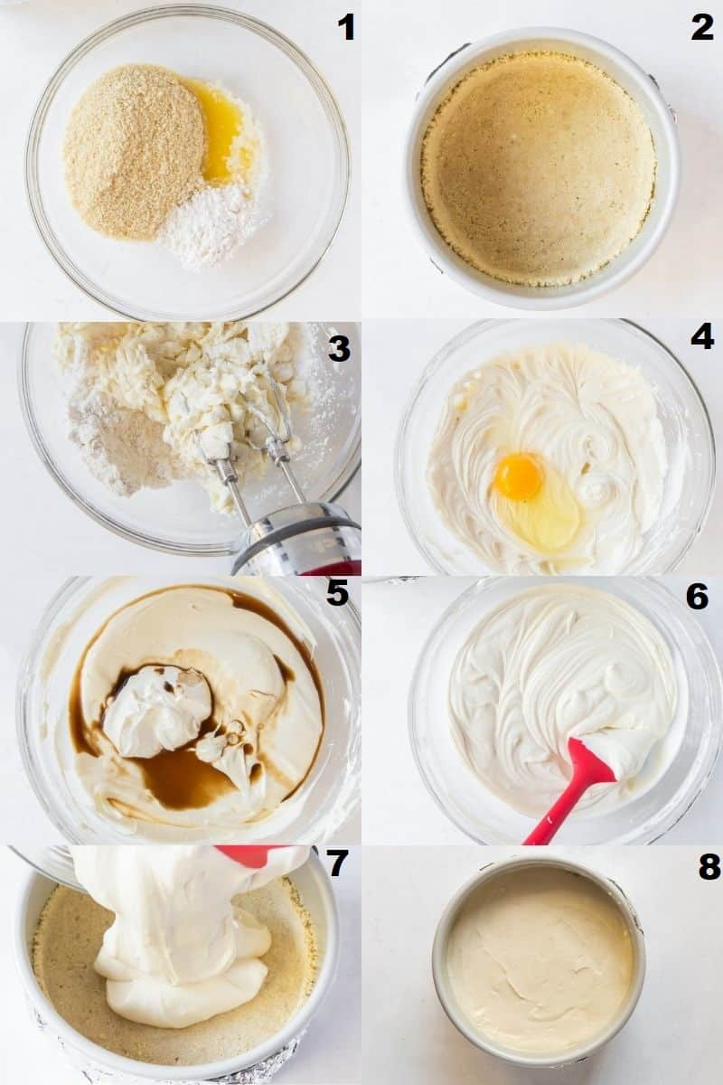 a collage of eight photos showing the steps to make gluten free cheesecake