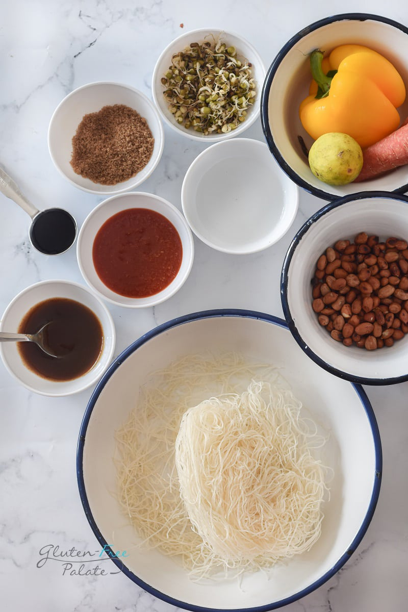 a top down view of ingredients in gluten free pad thai