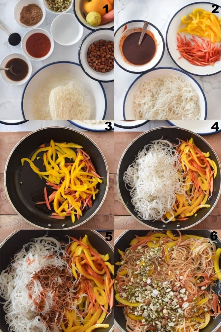 a collage of six photos showing the steps to make gluten free pad thai