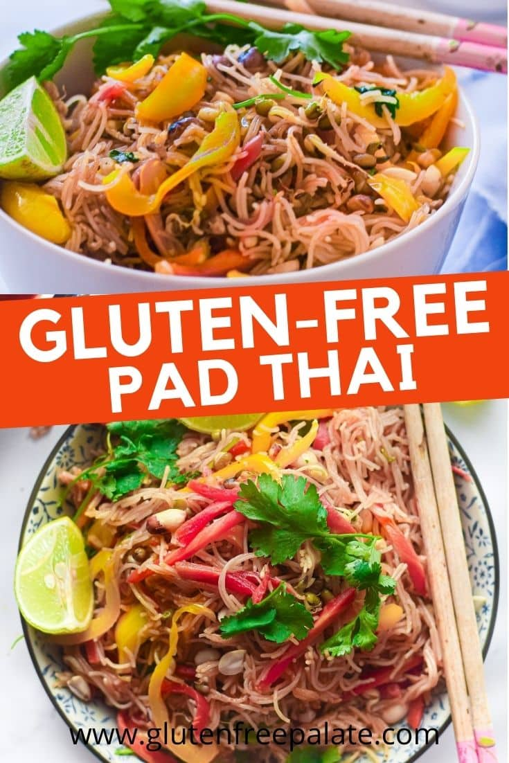 a pinterest pin collage for gluten free pad thai