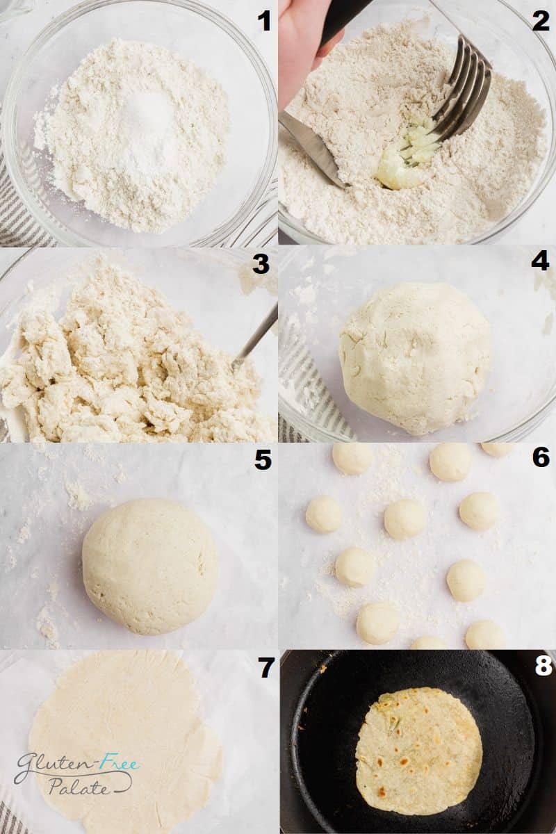 a collage of eight photos showing how to make gluten free tortillas