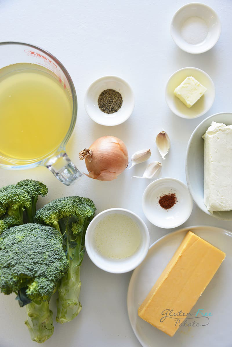 top down view of ingredients in a instant pot broccoli cheese soup