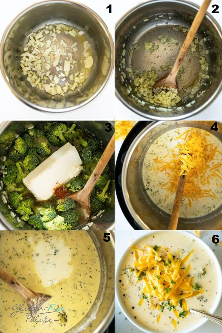 a collage of six photos showing the steps to make instant pot broccoli cheese soup