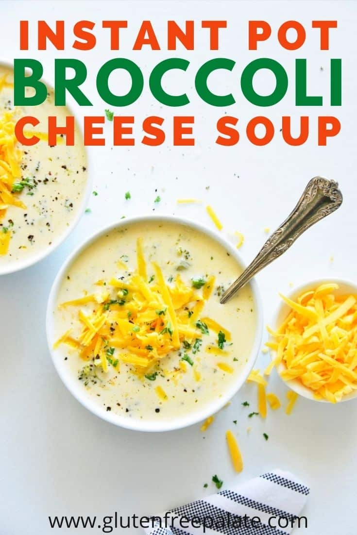 a pinterest pin for broccoli cheddar soup
