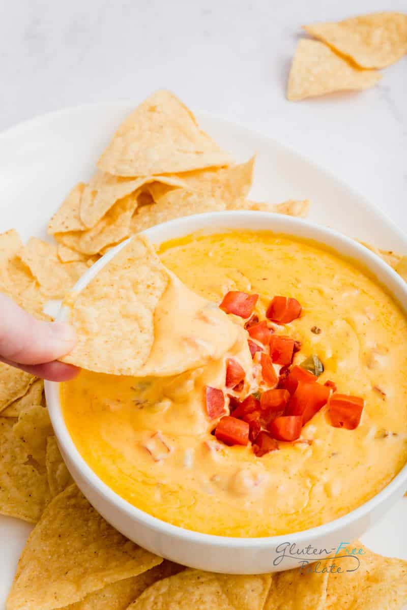 a chip with smoked queso