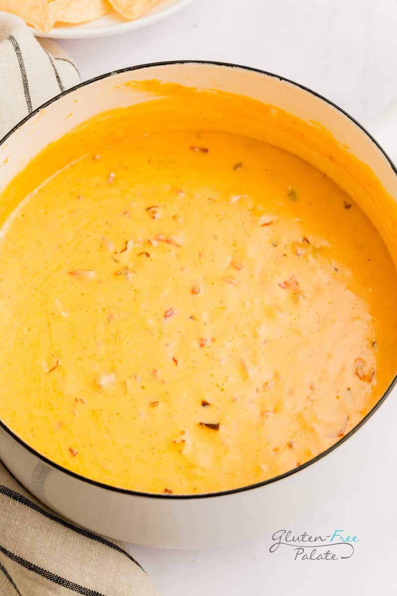 smoked queso in a cooking pot