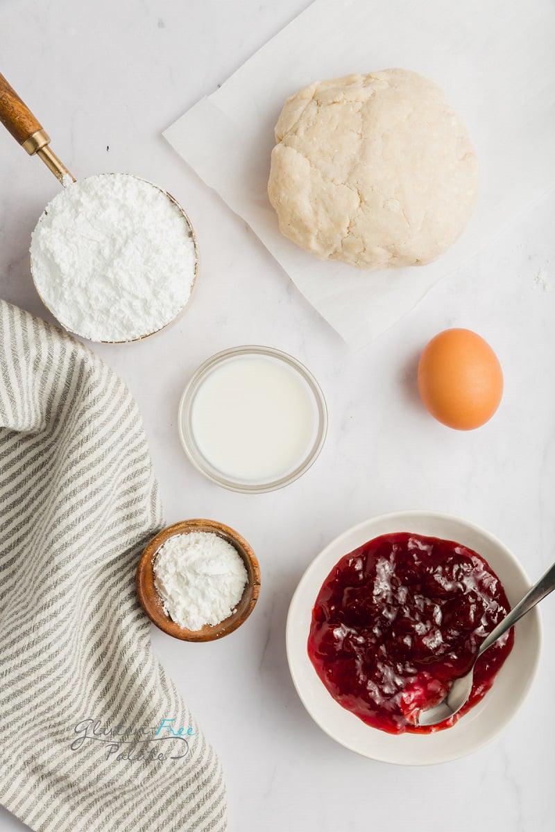 top down view of ingredients in gluten free pop tarts
