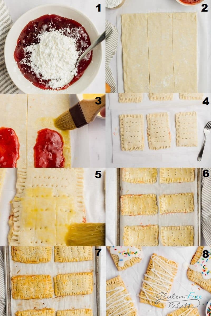 a collage of eight photos showing how to make gluten free pop tarts