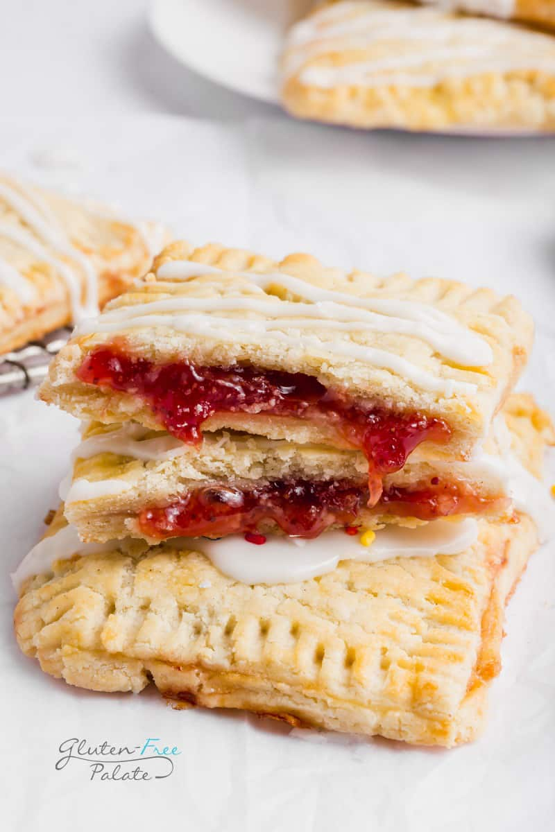 close up of strawberry filling in gluten free pop tarts