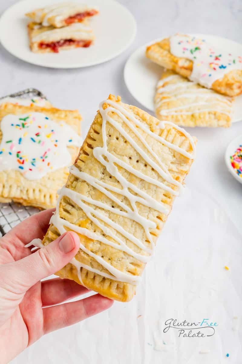 hand holding a gluten free pop tart