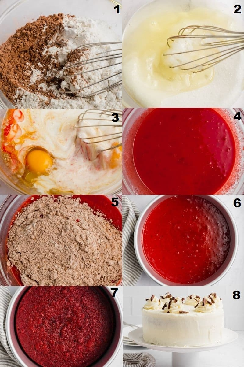 a collage of eight photos showing how to make gluten free red velvet cake