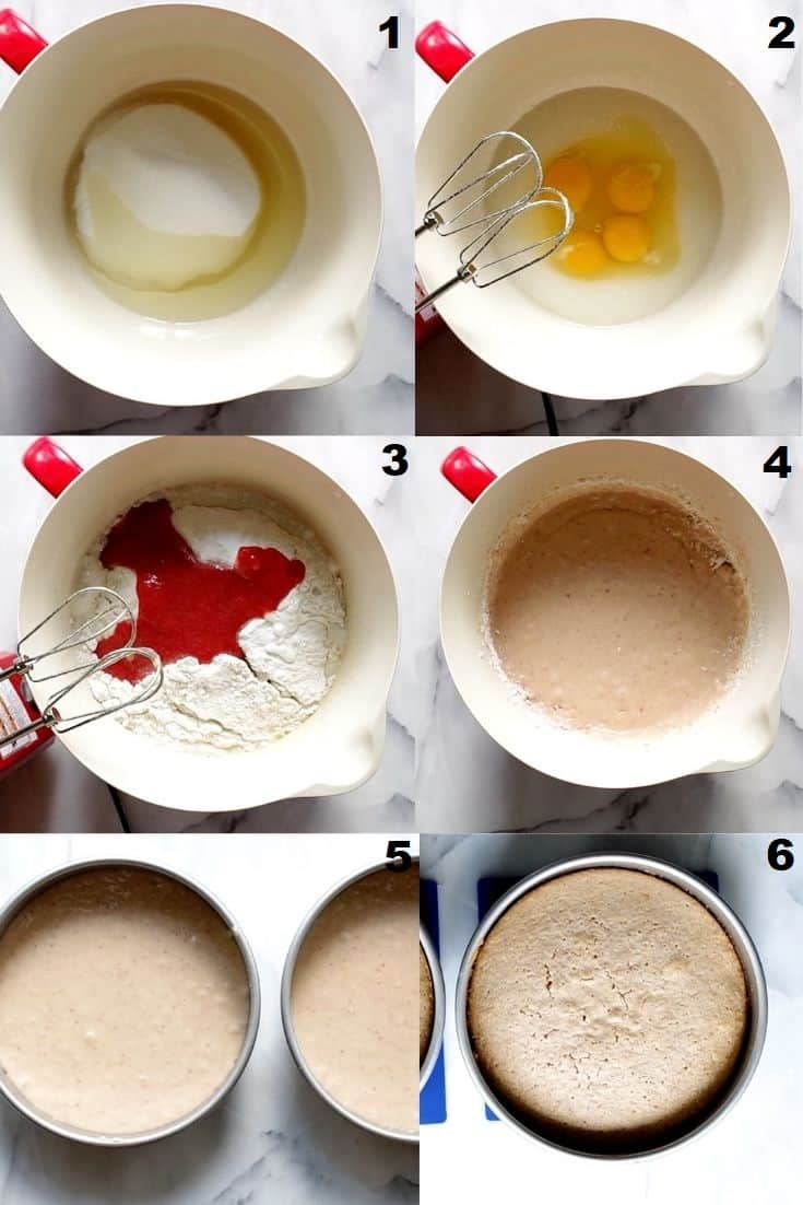 a collage of six photos showing how to make gluten free strawberry cake