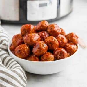 gluten free bbq meatballs in a white bowl