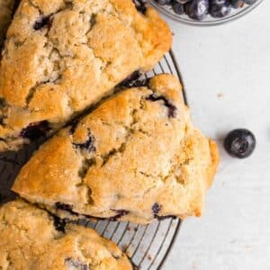 top down view of blueberry scones on a wire cooling rack