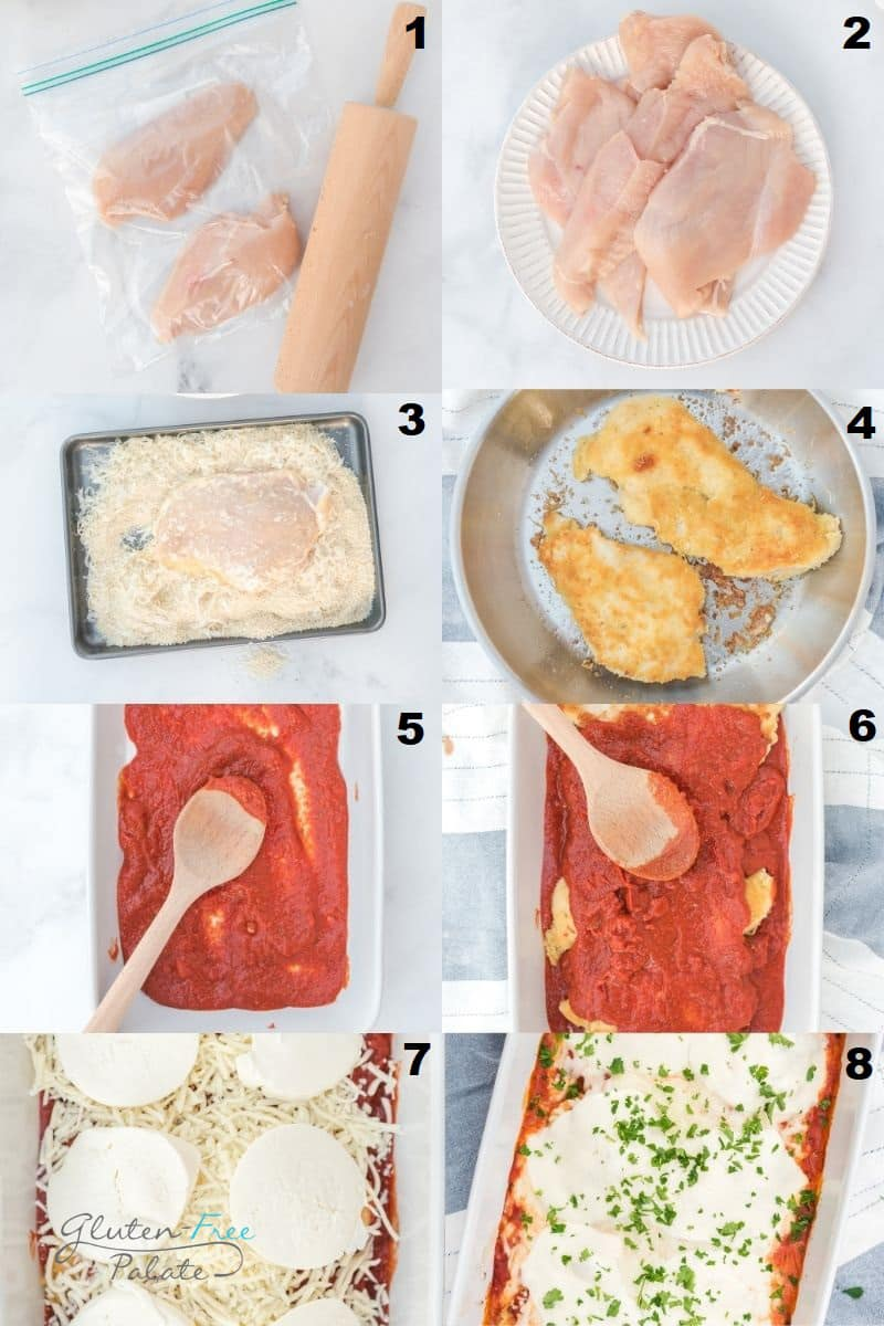 photo collage of eight steps needed to make chicken parmesan