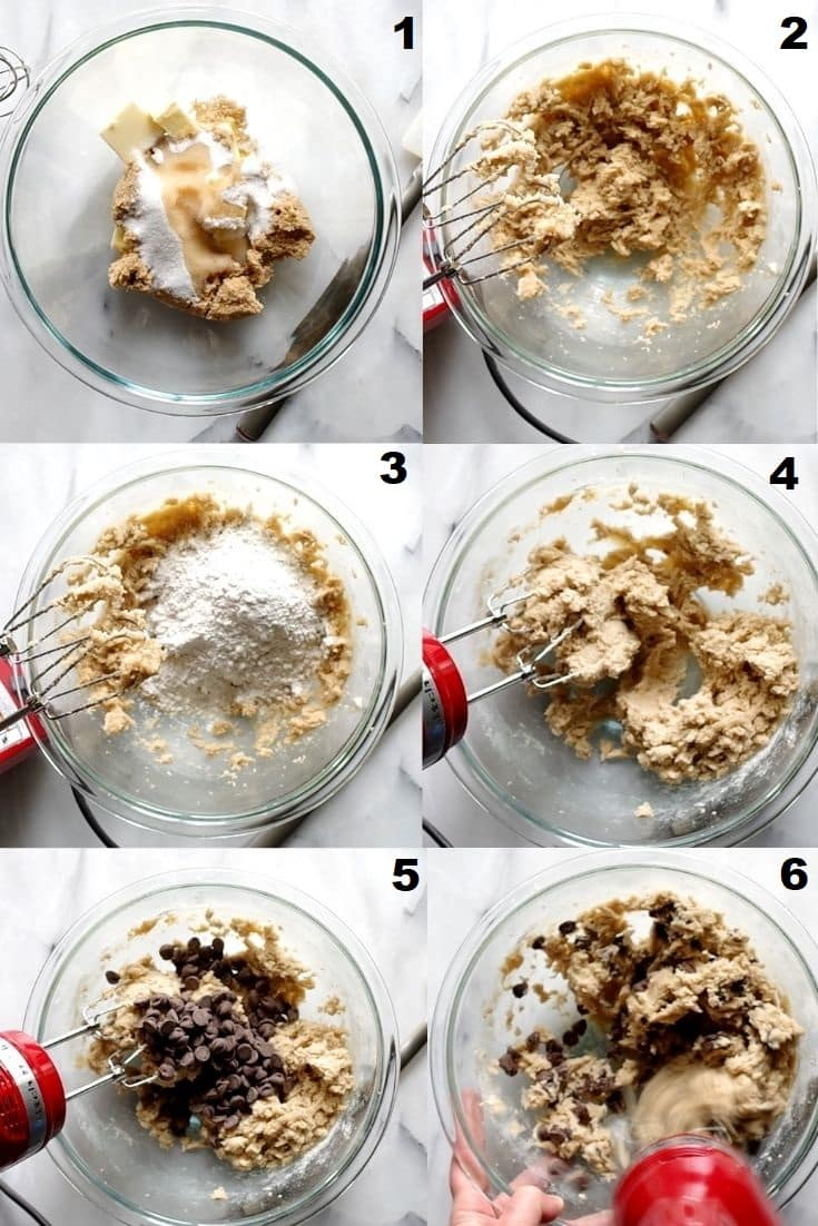 a collage of six images showing the steps to make gluten free cookie dough