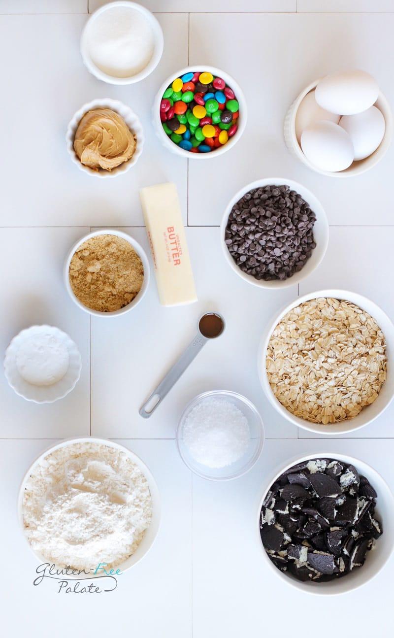 top down view of ingredients in gluten free monster cookies