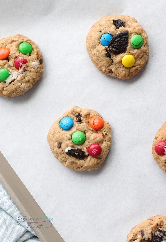 gluten free monster cookies on a baking sheet