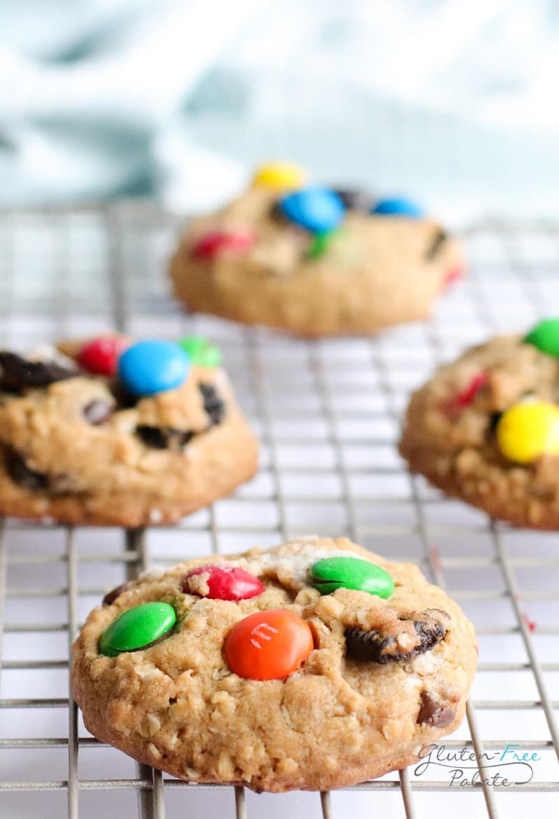 gluten free monster cookies on a cooling rack