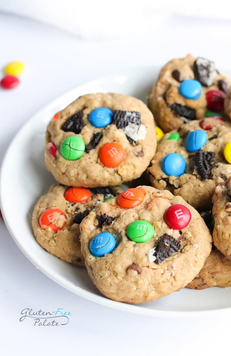gluten free monster cookies on a white plate